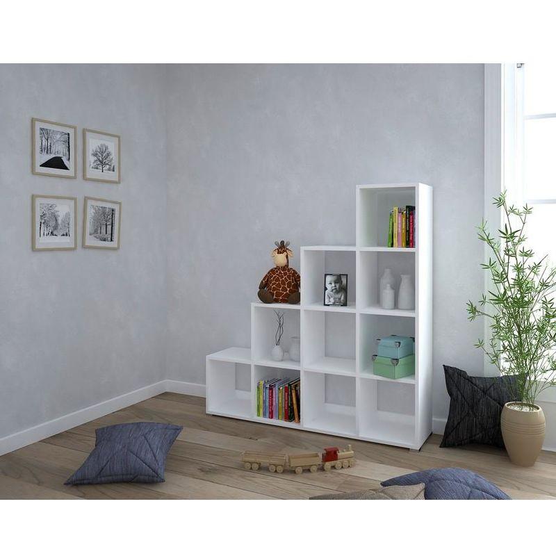 Libreria piani fissati con eccentrici a scomparsa Nobilitato 18mm,  Plastica, Ferro Bianco W141xD33xH144 cm