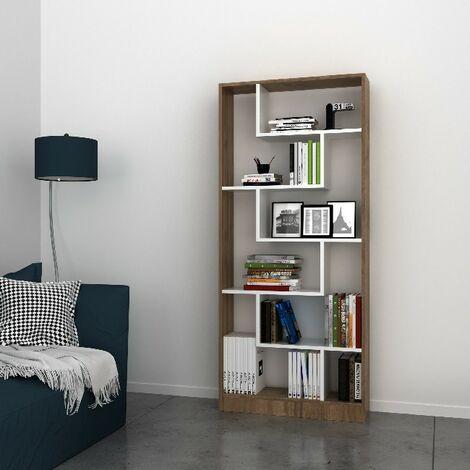 Libreria Riga Estanteria para Libros, Mueble - con Compartimientos - para Salon, Oficina - Nogal, Blanco en Madera, 80 x 22,2 x 180,8 cm