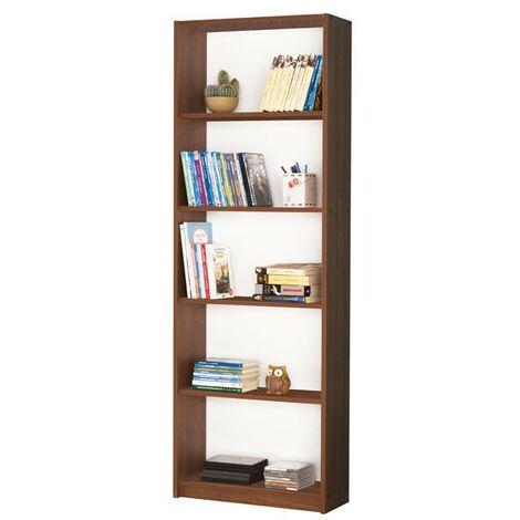 Libreria scaffale 5 ripiani colore noce cm 58x23xh.170