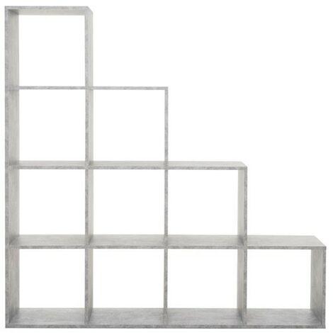 Libreria scaffale cubi 10 scomparti colore grigio 140x33xh.140 cm