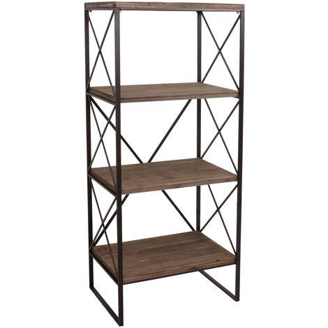 Libreria scaffale HWC-C10 legno e metallo 4 ripiani 42x60x142cm