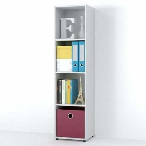 Libreria Scaffale Moderna con 4 Scomparti Arredo Interno Ufficio 140x35x33 cm