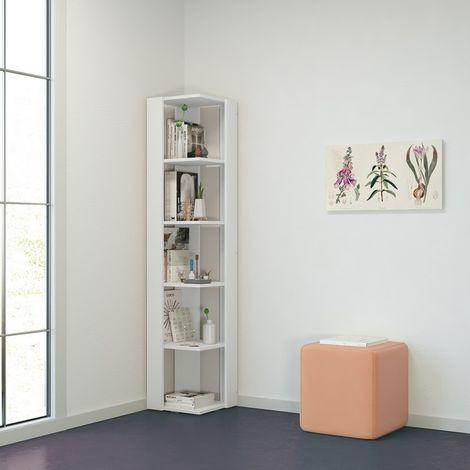 Libreria Seth Mueble de Pared de Esquina, Estanteria para Libros - con Compartimientos - para Salon, Oficina, Recibidor - en Madera, 34 x 34 x 161 cm