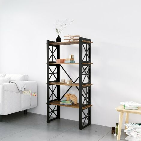 Libreria Star - Estante - de pared, oficina, sala de estar - Negro en Metal, Madera, 70 x 35 x 150 cm