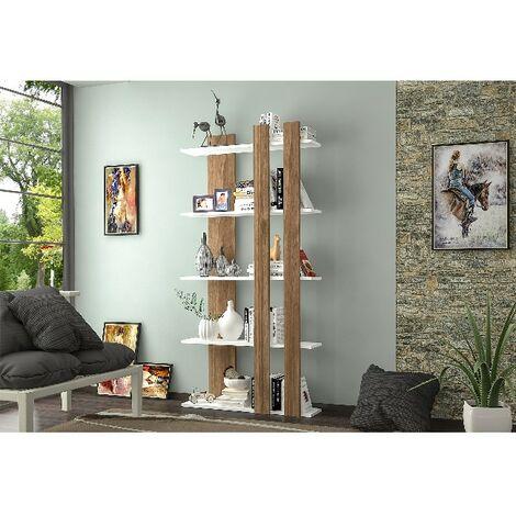 Libreria Tiny - Estanteria para Libros, Mueble de Pared con Compartimientos para Salon, Oficina - Wengue, Blanco, in Aglomerado Melaminico , 90x22x180 cm