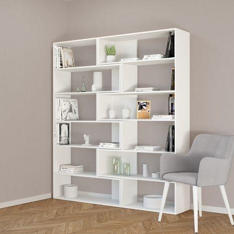 Libreria Twin Mueble de Pared - Modulable - Estanteria para Libros - con Compartimientos - para Salon, Oficina, Recibidor - en Madera, 158 x 30 x 179 cm