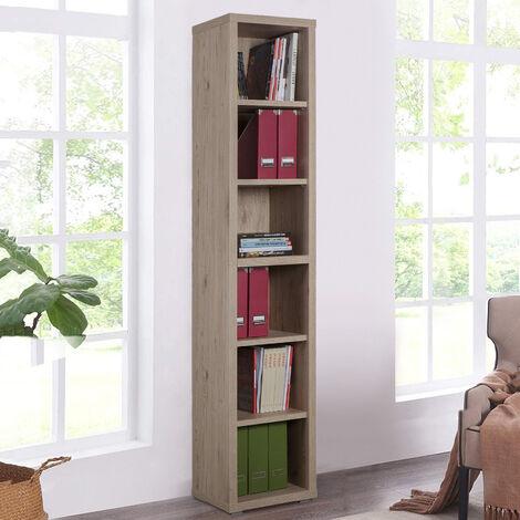 Librería vertical de madera 6 estantes diseño moderno Ely