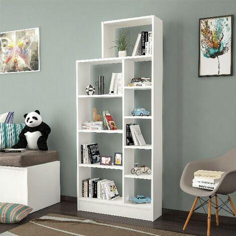 Libreria Zerre Estanteria para Libros, Mueble de Pared - con Compartimientos - para Salon, Oficina - Blanco en Madera, 75,4 x 22 x 170,8 cm