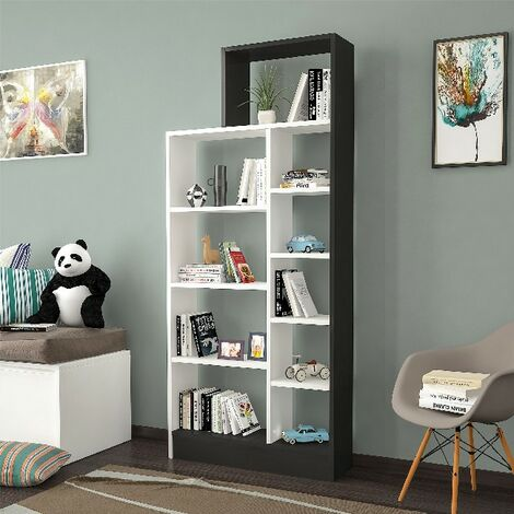 Libreria Zerre - Estanteria para Libros, Mueble de Pared con Compartimientos para Salon, Oficina - Negro, Blanco, in Aglomerado Melaminico , 75,4x22x170,8 cm