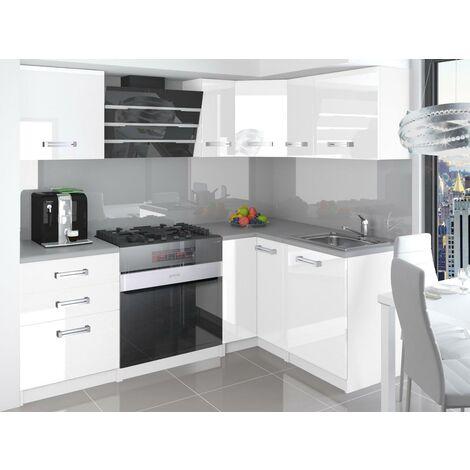 LIBRETTO   Cuisine Complète d'angle + Modulaire L 300 cm 8 pcs   Plan de travail INCLUS   Ensemble armoires modernes de cuisine   Blanc