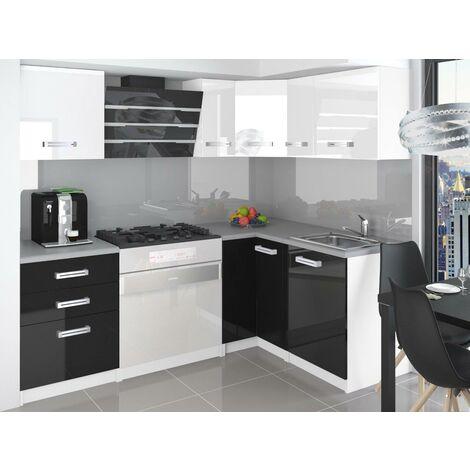 LIBRETTO   Cuisine Complète d'angle + Modulaire L 300 cm 8pcs   Plan de travail INCLUS   Ensemble armoires modernes cuisine   Blanc-Noir