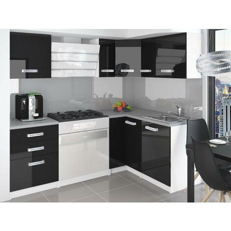 LIBRETTO | Cuisine Complète d'angle + Modulaire L 300cm 8 pcs | Plan de travail INCLUS | Ensemble armoires modernes cuisine - Noir