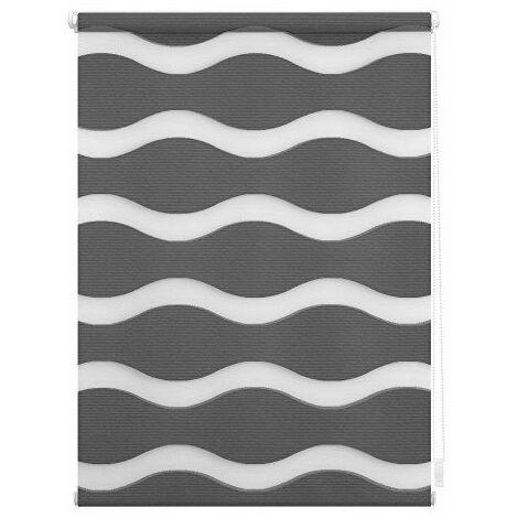 Lichtblick Store Duo motif vagues, supports auto-serrants, Polyester, anthracite, 100 cm x 150 cm B x L