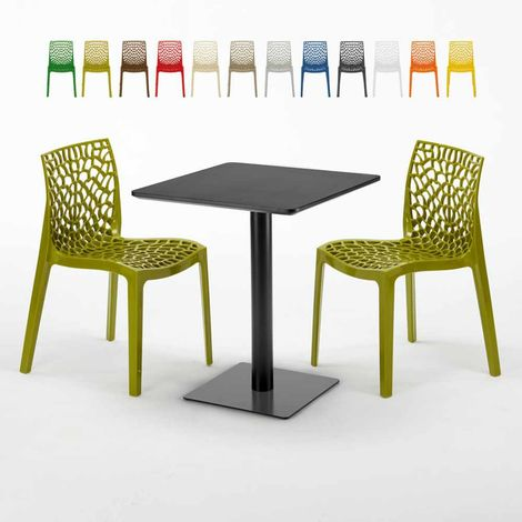 LICORICE Set Made of a 60x60cm Black Square Table and 2 Colourful GRUVYER Chairs