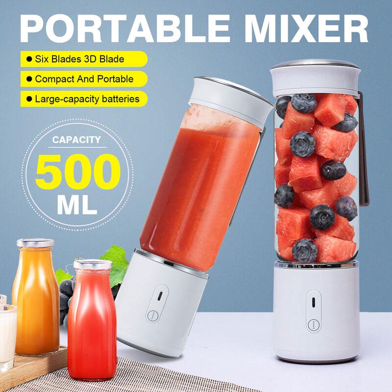 Kingso - Licuadora personal portátil, vaso exprimidor de vidrio recargable por USB, seis cuchillas 3D, 500 ml con tapa de viaje, licuadora de frutas