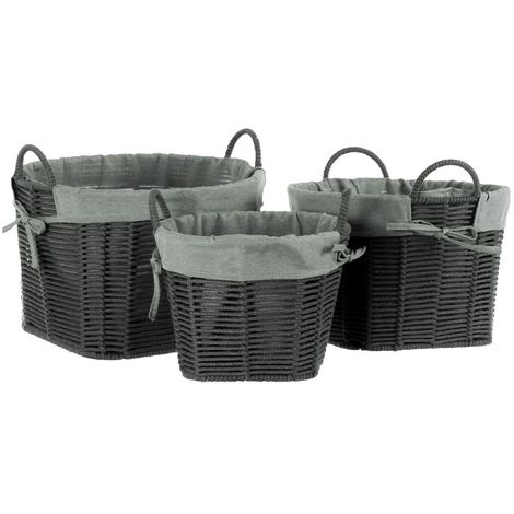 Lida Grey Storage Baskets,Cotton Rope / Fabric / Metal Wire,Set of 3