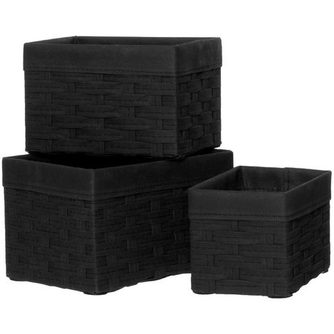 Lida Rectangular Storage Baskets,Lattice / Non Woven Fabric / Black,Set of 3