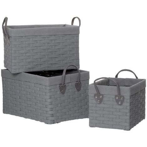 Lida Rectangular Storage Baskets,Lattice / Non Woven Fabric / Grey,Set of 3