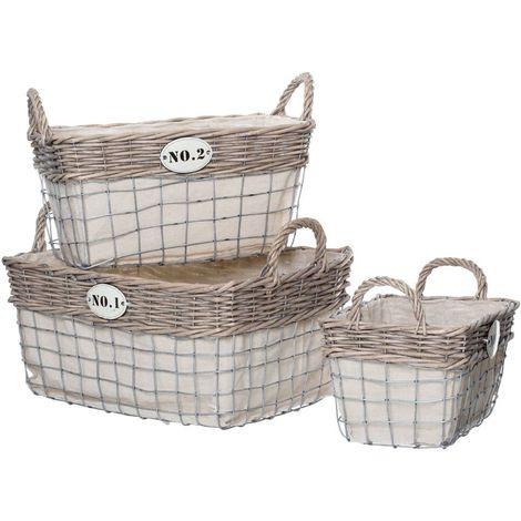 Lida Rectangular Storage Baskets,Willow / Wire,Set of 3
