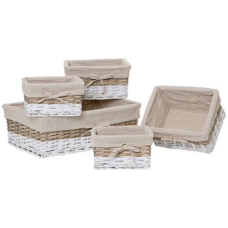 Lida Storage Baskets,Split Willow / Grey / White / Natural Lining,Set of 5