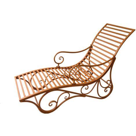 Liegebank Garten Liege Terrase Rost-Optik 148x54x100,5cm Balkon Sonnen Lounge