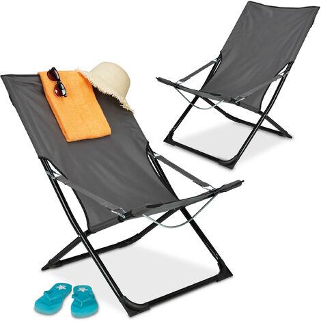 Liegestuhl 2er Set, klappbar, Hochlehner Campingstuhl mit Armlehnen, Garten, Balkon, HBT 85 x 61 x 85 cm, grau