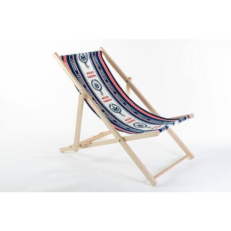 Liegestuhl aus Buchenholz klappbar, Strandstuhl, Sonnenliege, Gartenstuhl, Strandliege, stylisch, bequem, premium:blau