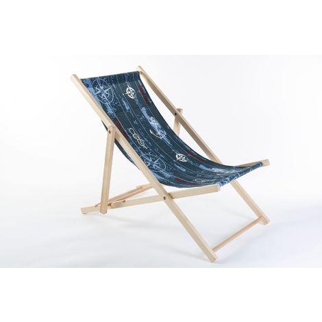 Liegestuhl aus Buchenholz klappbar, Strandstuhl, Sonnenliege, Gartenstuhl, Strandliege, stylisch, bequem, premium:blau/weiss
