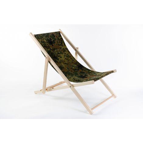 Liegestuhl aus Buchenholz klappbar, Strandstuhl, Sonnenliege, Gartenstuhl, Strandliege, stylisch, bequem, premium:dunkelgrün