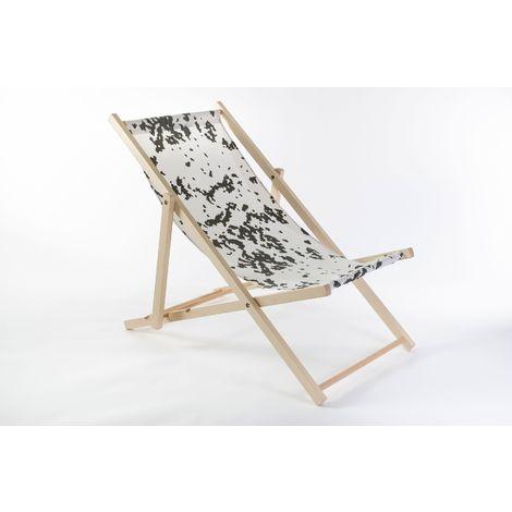 Liegestuhl aus Buchenholz klappbar, Strandstuhl, Sonnenliege, Gartenstuhl, Strandliege, stylisch, bequem, premium:weiß