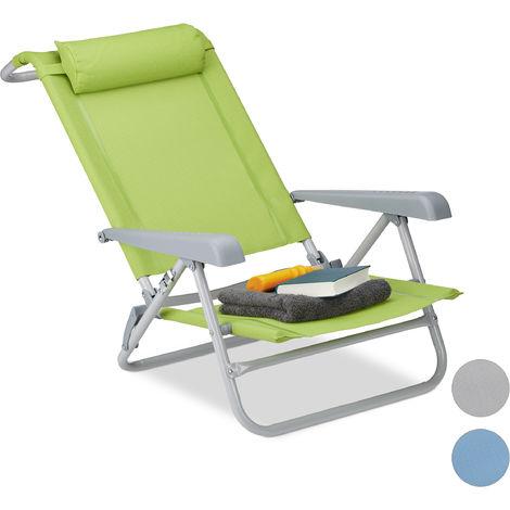 Liegestuhl klappbar, Nackenkissen, Flaschenöffner, 8-stufig verstellbar, bis 120 kg, Kunststoff, Stahl, grün