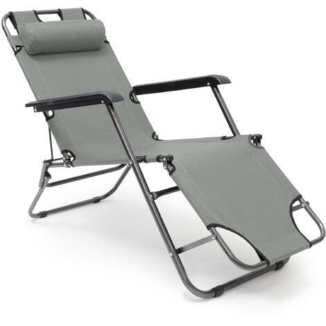 Liegestuhl, klappbare Sonnenliege m. Kissen & Armlehne, Garten, Balkon, Camping, 3-fach verstellbar, anthrazit