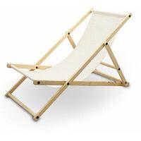 Liegestuhl Sonnenliege Gartenliege Holzliege Strandliegestuhl Holz Klappbar (Beige)