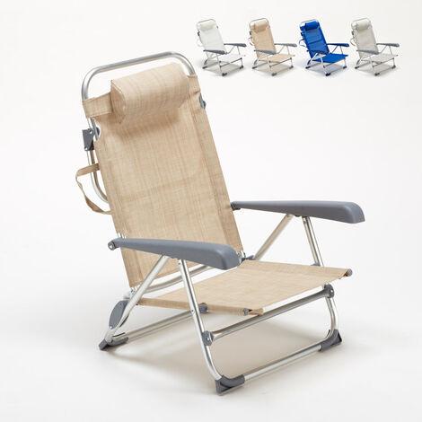 Liegestuhl Strandstuhl klappbar mit Armlehne aus Aluminium für Strand GARGANO