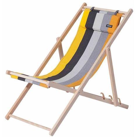 Liegestühle Aus Holz.Liegestuhl Strandstuhl Madison Holz Textil Victoria Gelb Gestreift
