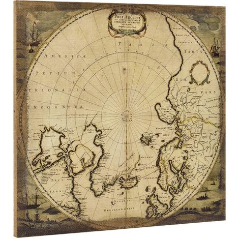 Lienzo enmarcardo para colgar en pared 60x60cm Mapa Polo Norte