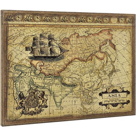 Lienzo enmarcardo para colgar en pared 60x80cm Mapa de Asia