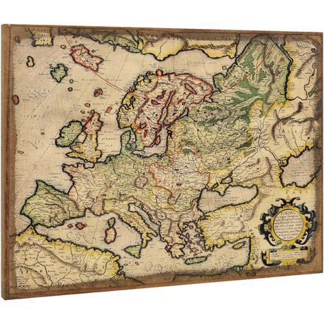 Lienzo enmarcardo para colgar en pared 60x80cm Mapa de Europa