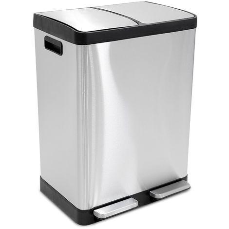 LIFA LIVING 2x 20l Mülleimer doppelt für Küche Silber, Mülltrennsystem mit 2 Abfalleimer, Duo Abfalleimer Soft Close und Trettpedal, geräuschlos, geruchsdicht (40l)