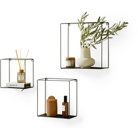 LIFA LIVING 3er Set Wandregal im Industrie Design, Schweberegal schwarz Metall, elegante Wanddeko Quadrat als Bücherregale, Küche, Belastbarkeit 3 kg