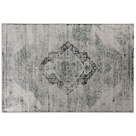 LIFA LIVING Aqua Vintage Teppiche , im schönen Vintage Muster , für Wohn- und Schlafzimmer , Farb und Größen Variationen , (Beige/Silber, 80x150)