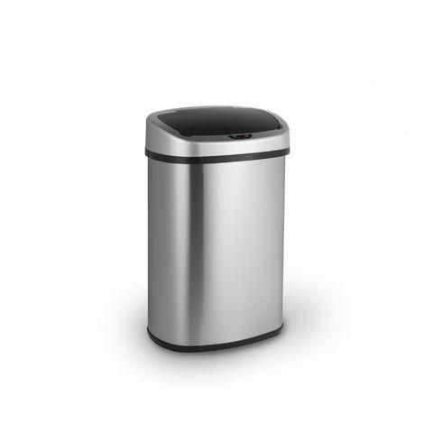 LIFA LIVING Automatischer Freihändiger Sensor-Mülleimer, Küchenabfälle, Abfalleimer mit Hand Bewegungssensor, Edelstahl, Silber