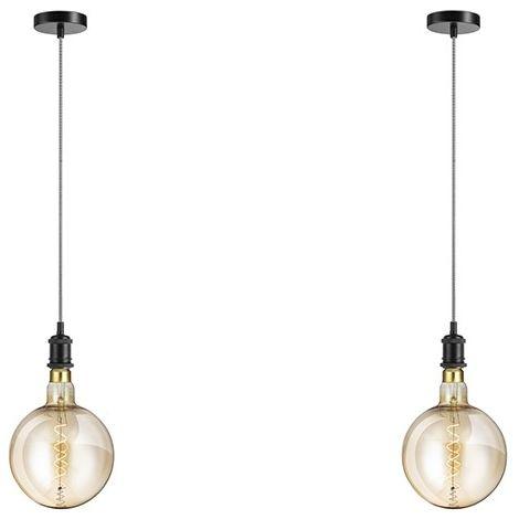 LIFA LIVING Deckenleuchte im 2er Set , Lampenfassung E27 , Hängeleuchte, Pendelleuchte , Industrieller Vintage-Stil , Verstellbares Kabel bis 1,50 cm (Schwarz)