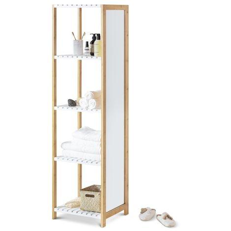 LIFA LIVING Estantería con Espejo, Estantería de suelo con 4 estantes, para Zapatos, Ropa y Decoración, Madera de bambú y Caucho, 35 x 45 x 160 cm