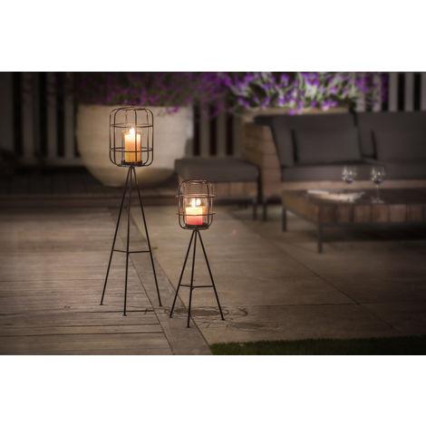 LIFA LIVING Große Kerzenhalter für Wohnzimmer & Garten , Modernes 2er Set Standleuchten im Vintagestil , Vogelkäfig Kerzenleuchter aus Metall & Glas (Schwarz)