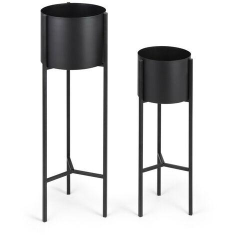 LIFA LIVING Juego de 2 Porta macetas Negros , Porta macetero De interior , 100% Metal , De salón, Pasillo