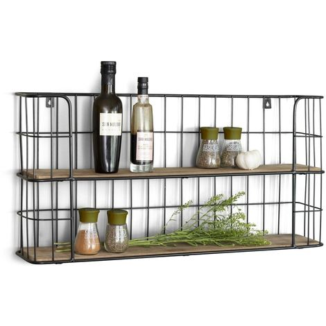 """main image of """"LIFA LIVING Küchenregal aus Holz und schwarzem Metall mit 2 Böden, Wandregal mit 2 Etagen, Wand Regal für Küche, Gewürzregal, 66,5 x 14,3 x 33,6 cm"""""""