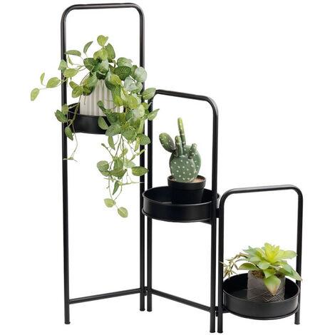 LIFA LIVING Moderne Blumentreppe aus schwarzem Metall mit Bögen , Pflanzenständer mit drei Stufen , Dekorativer Blumentopfständer für den Innenbereich , Ø 25 x 90 cm
