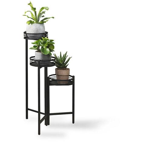 LIFA LIVING Moderne Blumentreppe aus schwarzem Metall , Pflanzenständer mit 3 Stufen , Dekorativer Blumentopfständer für den Innenbereich , Ø 25 x 84 cm