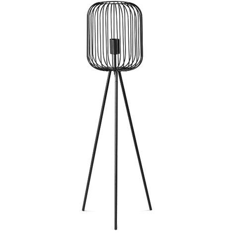 LIFA LIVING Moderne Metall Wohnzimmerlampe E27 mit Ständer und Schirm, Schwarze Stehlampe im Industrie Design